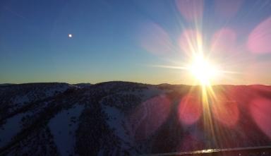mount hotham sunset snow