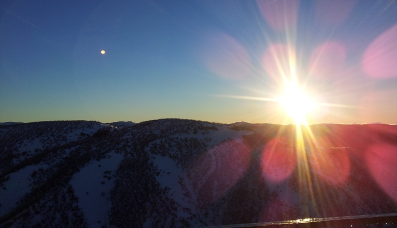 mount hotham sunset snow
